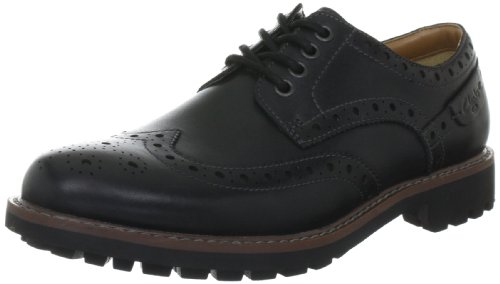 Clarks Montacute Wing 203510927, Scarpe stringate basse uomo, Nero (Schwarz (Black Leather)), 42