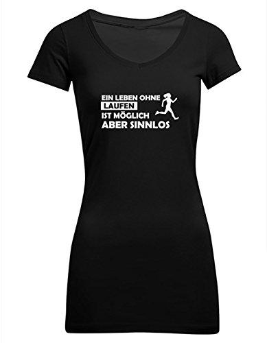 Ein Leben ohne Laufen ist möglich aber sinnlos, Frauen T-Shirt Extra Lang - ID104273 Schwarz