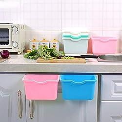 EQLEF Poubelle Suspendue, Mini Cuisine Suspendus Poubelle Poubelle Poubelle Médicament Bacs Organisateur De Rangement sans Couvercle Lot de 2(Rose+Bleu)