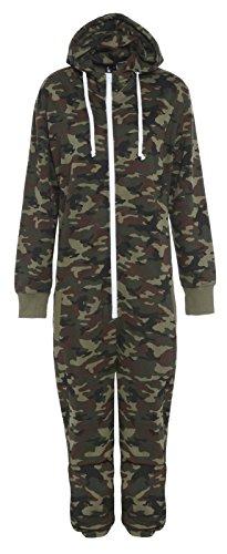 Jumpsuit mit Camouflage-Print, Reißverschluss, Kapuze und Fleece-Futter Gr. XL, Army Camo Print -