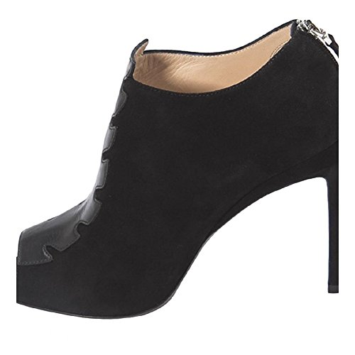 8T488145LF0ABB Fendi Sandale Femme Chamois Noir Noir