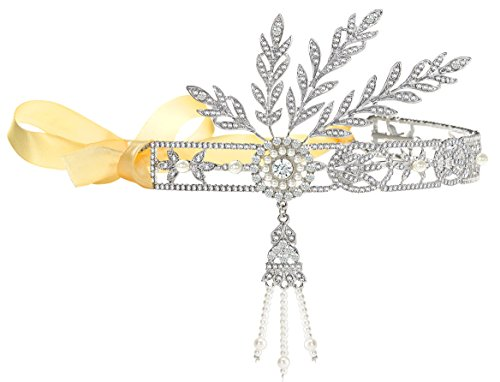 Große Ton (Babeyond Bling Silber-Ton Das große Gatsby inspirierte Blatt simulierte Perlen-Stirnband-Haar-Tiara (Silber 2))