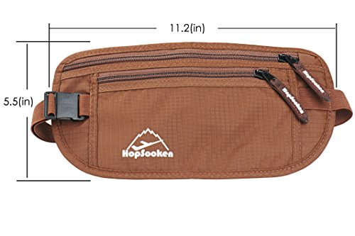 Hopsooken Travel Money Belt: Waist Pack for Running and Cycling, Rfid, Comfortable, Durable and Lightweight Hidden Travel Passport Wallets (Brown)