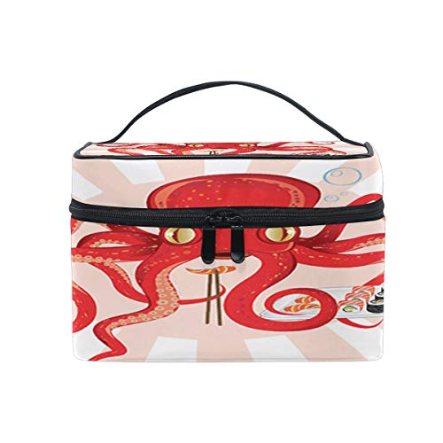 Japan Octopus Sushi Feast Kosmetiktasche zum Aufhängen von Kulturbeutel, rote Tiere, tragbar, große Kapazität, Reise-Make-up-Koffer, Aufbewahrungstasche für Mädchen und Frauen im Freien