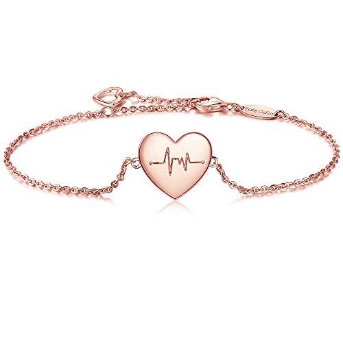 Bracciale da donna, braccialetto in argento sterling 925 con battito cardiaco cuori pendenti, misura regolabile