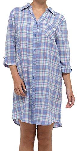 Womens magnifique 100 % coton bouton complet avant flanelle douce cocher nuit chemise chemise de nuit Bleu et à la menthe