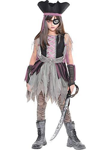 shoperama Geisterpiratin Kostüm für Mädchen Kinderkostüm Piratin Halloween Kinder Kleid, Größe:110 - 4 bis 6 Jahre