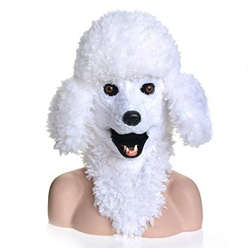 Pudel Kostüm Lustige - ManY Viele Kostüm Kopf Maske Kopf Maske-Pudel-Hundekopf-wirkliche Tiermasken-Tiergesicht mit Urheber-Mund for Partei (Color : White)