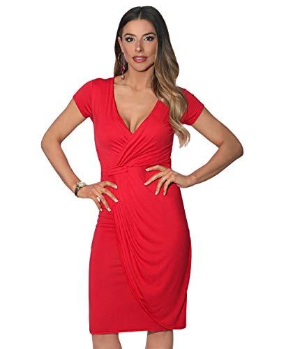 KRISP 6678-RED-16 Damen Jersey Wickelkleid (Rot, Gr.44)