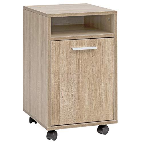FineBuy Rollcontainer FB16398 Sonoma 33x60x38cm Schubladenschrank Büro Container | Schreibtischcontainer mit Tür & Ablage | Bürocontainer Beistellcontainer mit Rollen | Kleiner Schubladencontainer