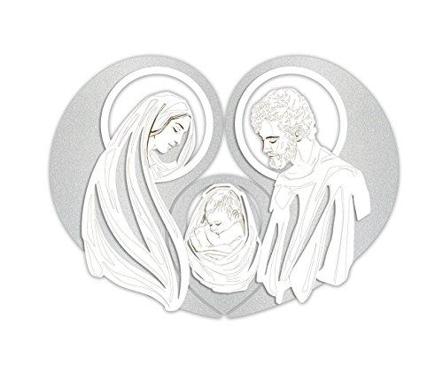 Las quadro capezzale capoletto moderno 90x65 per camera da letto sacra famiglia legno inciso a laser argento bianco made in italy