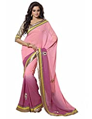 101cart Adorable Dual Colored Stone Worked Faux Georgette Saree