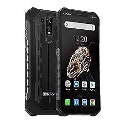 Ulefone Armor 6S Outdoor Smartphone ohne Vertrag 6GB RAM 128GB Speicher, Helio P70 Wasserdicht IP68 Handy Android 9.0, 6.2 Zoll FHD + Display, 5000mAh mit Qi-fähig, UV-Detektor, Schwarz (Global 4G)
