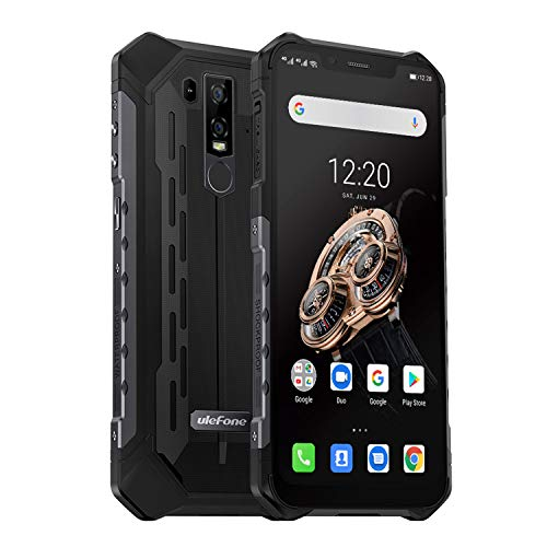 Ulefone Armor 6S (2019) Outdoor Handy Wasserdicht, 6GB + 128GB Helio P70 Prozessor IP69K Robust Smartphone Qi fähig, 6.2 Zoll 16MP + 8MP + 8MP Kameras, 5000mAh Akku, Globale LTE, UV-Detektor, Schwarz