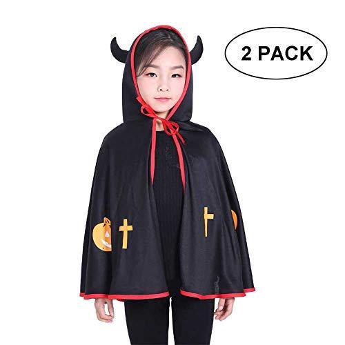 GLXQIJ 2 Stück Unisex Halloween Kostüme Kapuzen Cape Mantel Für Kinder Kinder, Niedliche Halloween Requisiten Set,Black,OneSize
