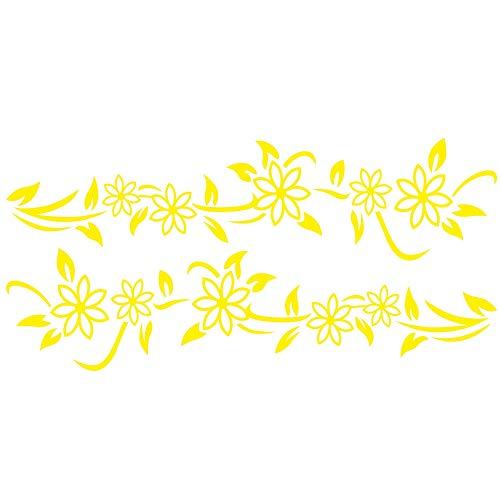 Blumen 2 U (L&U 2 Stücke Universal Reben Blume Auto Vinyl Aufkleber, Auto Styling Tür Seitenschweller Streifen Autokörperaufkleber, 120 * 30 cm,Yellow)