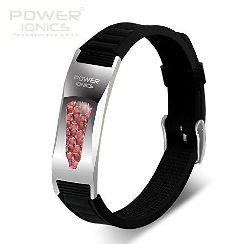 Power Ionics Bracelet Armband Powerarmband PowerIonics Ionenarmband Energie Wristband Magnet Armband 2000ioncs Smart Sports Bracelet Wristband PT057 (black/red)
