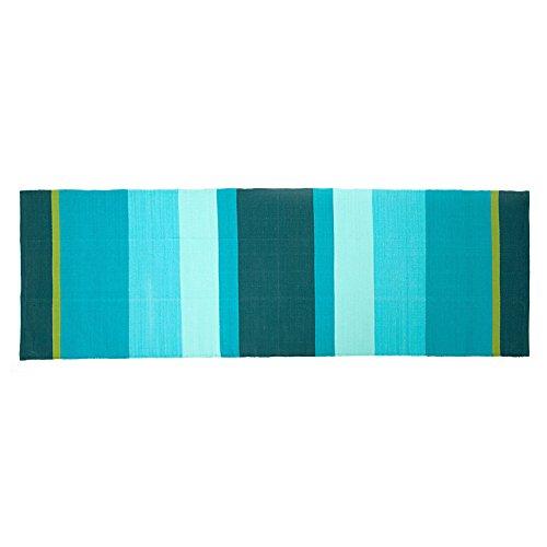 YOGA RUG Yoga-Teppich aus Baumwolle, 198 x 68 cm, Mysore Yoga-Rug, Auflage aus Naturmaterial für Ashtanga oder Hot Yoga Matte, Natur-Material (petrol-türkis-grün)