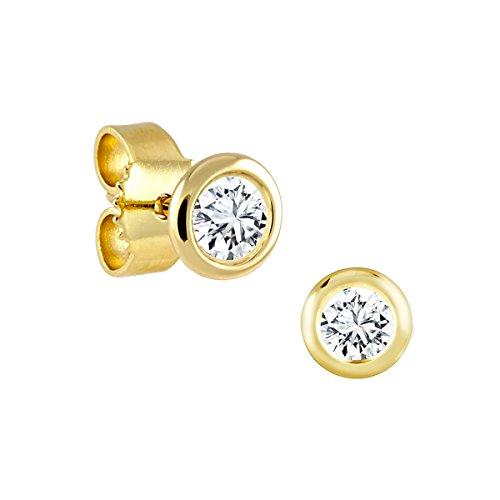 Diamond Line Damen - Ohrstecker 585er Gold 2 Diamanten ca. 0,15 ct., gelbgold