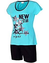 Schlafanzug kurz Damen Pyjama kurz Damen Nachthemd kurz aus 100% Baumwolle softweich Gr. S M L XL