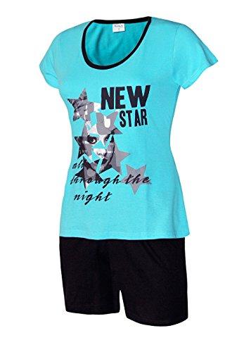 Moonline nightwear Schlafanzug kurz Damen Pyjama kurz Damen Nachthemd kurz aus 100% Baumwolle softweich Gr. S M L XL (XL/48-50, oberteil türkis/short schwarz) (Kurze Baumwoll-nachthemd)