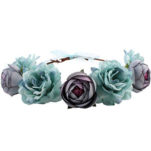 Gazechimp Frauen Boho Haarband Blumen Krone Haarschmuck Stirnband Haarreif Hochzeit Girlande - blau