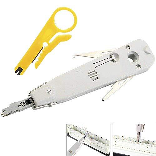 Punch Down Tool, Anlegewerkzeug Auflegewerkzeug Professionell für Telefon-Stecker, RJ45 RJ11 CAT5e Cat6 Typ IDC Netzwerkdosen Verlegekabel Patchpanel Netzwerkverdrahtung Schneidklemmen