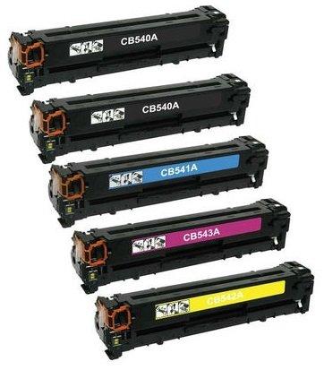 5er Set INK INSPIRATION® Premium Toner für HP Colour Laserjet CM1312 CP1210 CP1213 CP1214 CP1215 CP1216 CP1217 CP1500 CP1510 CP1513 CP1514 CP1515 CP1516 CP1517 CP1518 CP1519 Canon I-SENSYS LBP-5050N LBP-8030CN LBP-8050 LBP-8050CN MF-8030CN MF-8040CN MF-8050CN MF-8080CW   kompatibel zu HP 125A (CB540A, CB541A, CB542A, CB543A) & Canon CRG-716   Schwarz 2.200 Seiten & Color je 1.400