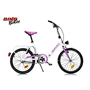 """Cicli Puzone Bici 20"""" Pieghevole Bianco Fuxia Dino Bikes Art. 321"""