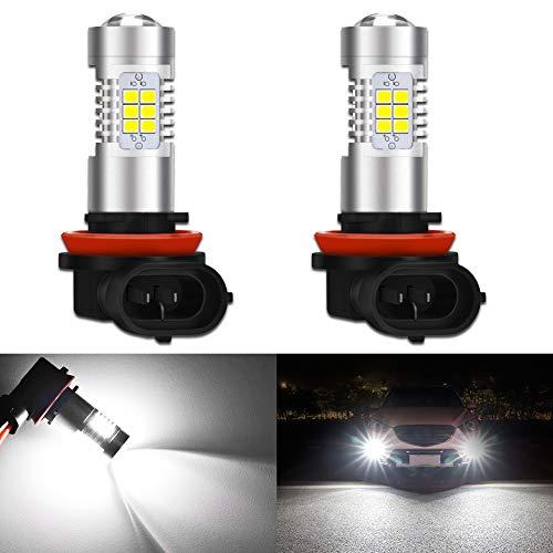 KaTur H8 H9 H11 Lampadine fendinebbia a LED Max 80W 2000 Lumen 6500K Xenon Bianco con proiettore per Guida luci di Marcia Diurna DRL o fendinebbia, 12V -24V (Confezione da 2)