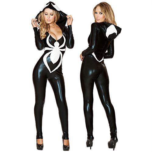 GYH Halloween Sexy Mit Kapuze Overall Cosplay Kostüm Erwachsene Weibliche Spider-Man Singer Catsuit (Erwachsene Venom-kostüm Für)