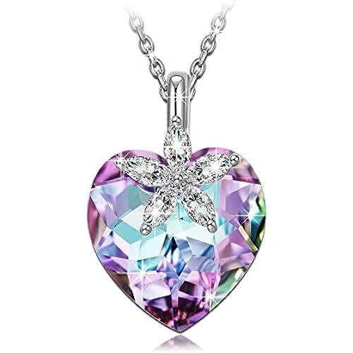 ofertas para el dia de la madre ❤Regalos para Mamá❤ NINASUN Bauhinia Blossom Plata de Ley 925 Fabricados con Cristales SWAROVSKI®, Colgante Collar Mujer, Libre de Alérgenos, Cadena de Extensión de 45+6cm