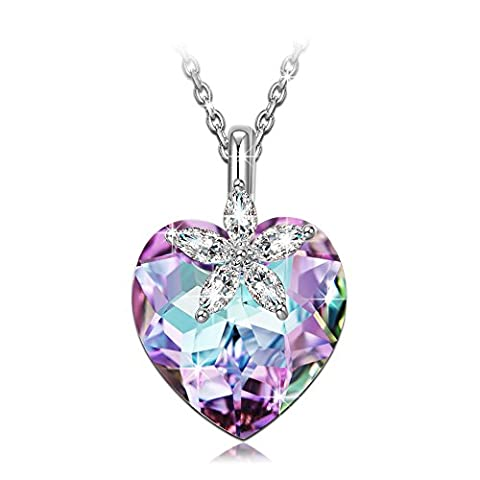 NINASUN Bauhinia Blossom 925 Sterling Silver Women Necklace Pendant Purple Heart Swarovski Crystal Flower Mothers Day Jewellery Wife Girlfriend Anniversary Birthday Christmas Valentine Wedding Gifts