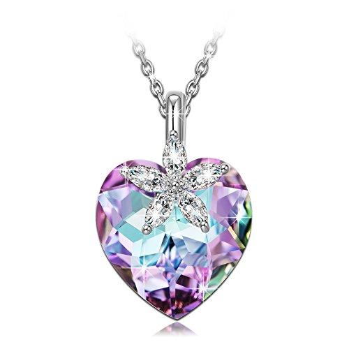 - 41D7sfnp7bL - NINASUN Bauhinia Blossom 925 Sterling Silver Women Necklace Pendant Purple Heart Swarovski Crystal Flower Allergen-free Fine Jewellery Gemstone Accessories