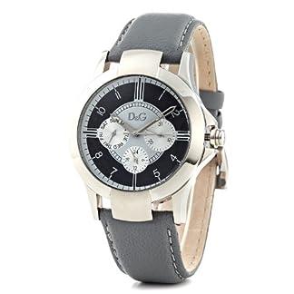 D&G Dolce&Gabbana DW0533 – Reloj analógico unisex de cuarzo con correa de piel gris – sumergible a 50 metros