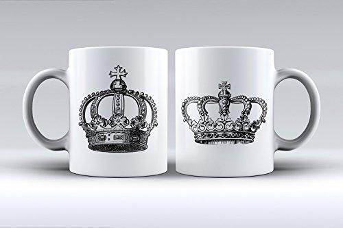 Pack 2 tazas ilustración coronas rey y reina decorada desayuno regalo original pareja