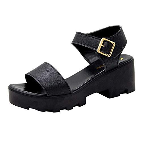❤Eaylis Damen Sandalen Vollfarbige Schnalle Sommer Strand Schuhe Hausschuhe Stilvoll und elegant