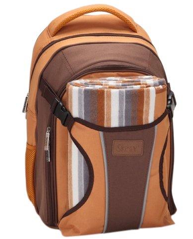 Preisvergleich Produktbild Rucksack Wickeltasche - Baby Rucksack von Three Little Imps - große Reisetasche - braun Streifen w Grund Decke / Picknick-Decke und wasserdichte Baby Matte