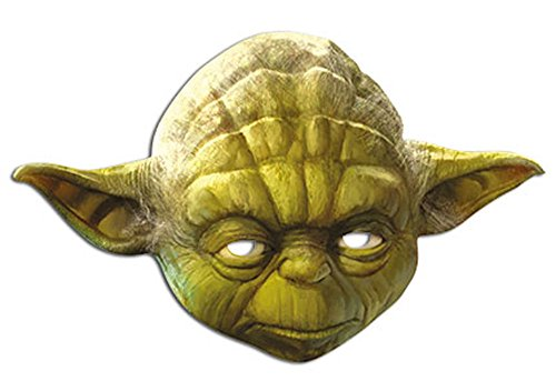 Star Wars - Yoda Papp Maske, aus hochwertigem Glanzkarton mit Augenlöchern, Gummiband - Größe ca. 30x20 (Meister Yoda Kostüm)