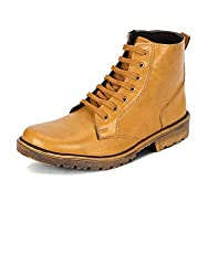 Kielz Mens Tan Synthetic Boots (GT-GA-7014-TAN-41) - 41 EU