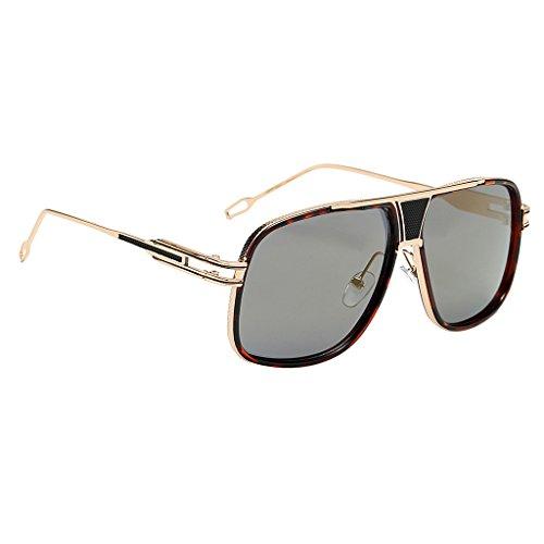 MagiDeal Vintage Sonnenbrille Fliegerbrille Pornobrille Brillen Verspiegelt Gläser UV400 Schutz - Leopard Frame Goldlinse