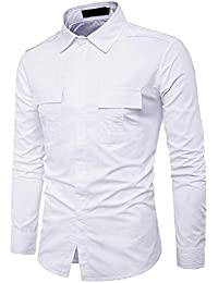 BUSIM Men's Long Sleeve Shirt Autumn Casual Military Cotton Slim Epaulettes Solid Color Pocket T-Shirt Tops Comfortable...