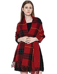 UMIPUBO Écharpe Femme Treillis Cachemire Mode Bicolore Echarpe Poncho de  Poche d hiver Foulards ba6f880b29d