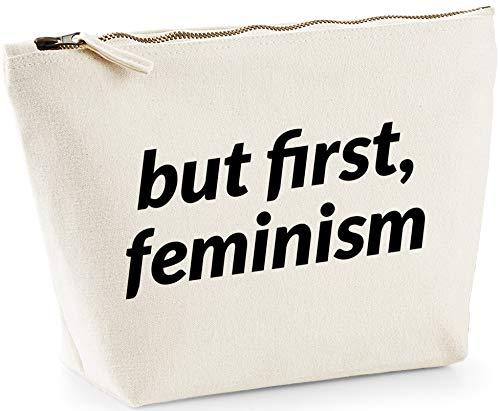 Hippowarehouse But First Feminism Bolsa de Lavado cosmética Maquillaje Impreso 18x19x9cm