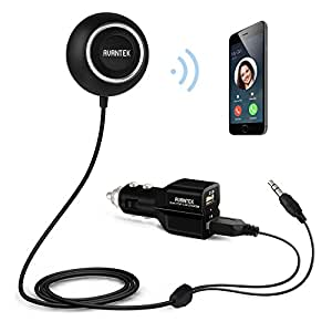 AVANTEK Kit Viva voce Bluetooth 4.0 Auto Ricevitore Audio Stereo senza fili con 3,5 mm Jack di Ingresso Aux, Caricabatteria da Auto Dual Port USB, Supporta l'Attivazione Siri / Voice, BC-L6