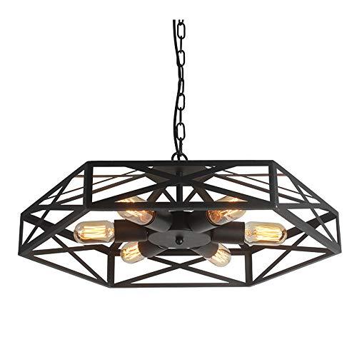 Ventilador industrial retro del estilo del metal jaula de la lámpara de techo colgante de 6luces semi...