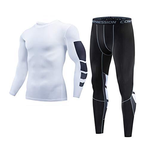 d1a1551d3 YanHoo Camiseta de Compresión Manga Larga para Hombre Pantalones Largos  Leggings Apretada Ropa Interior Deportiva Deportes