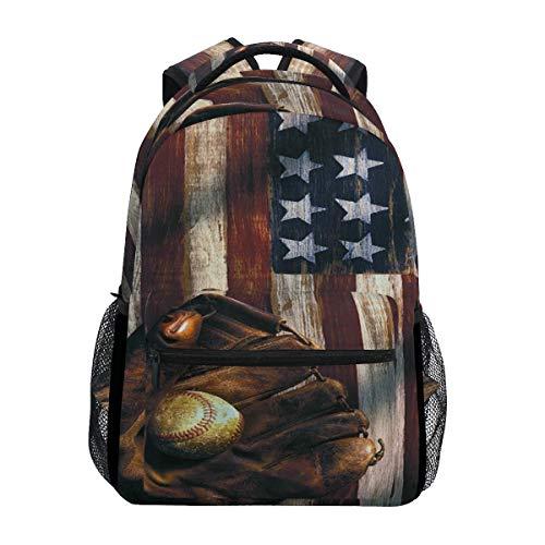 Baseball Dream American Flag Rucksack Schule Bookbag Reisen Schulter Laptop Tasche für Damen Herren (Flag Dream American)