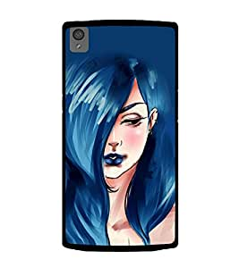 Beautiful Girl with Blue Hair 2D Hard Polycarbonate Designer Back Case Cover for OnePlus X :: One Plus X :: One+X