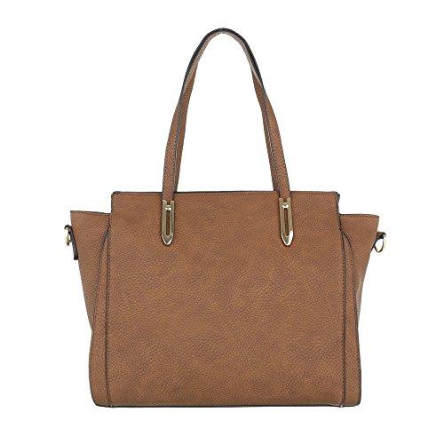 iTal-dEsiGn Damentasche Mittelgroße Schultertasche Handtasche Used Optik Kunstleder TA-G0081 Camel